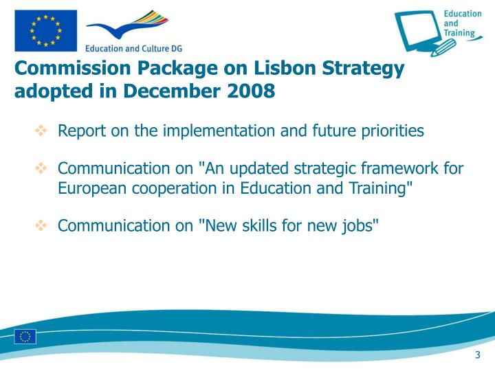 Commission package on lisbon strategy adopted in december 2008