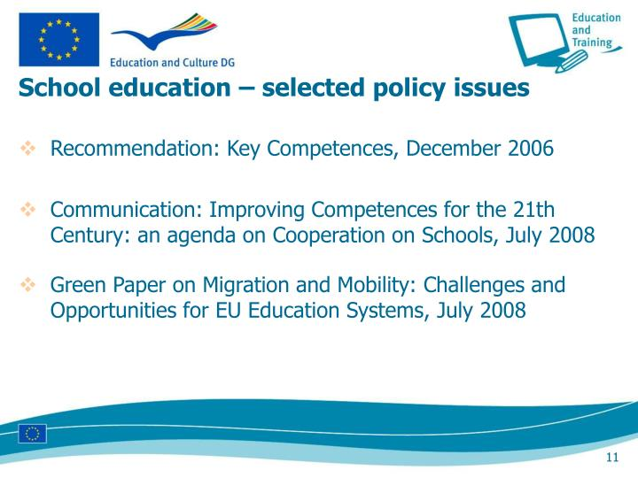 School education – selected policy issues