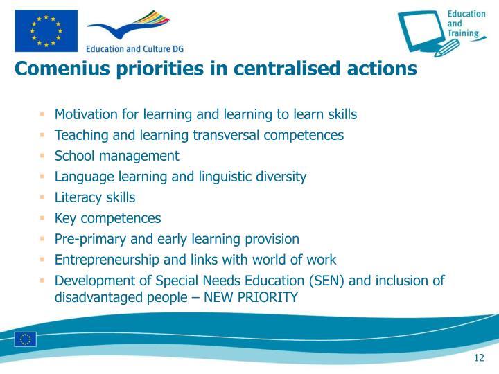 Comenius priorities in centralised actions