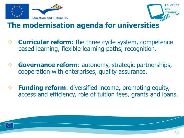 The modernisation agenda for universities