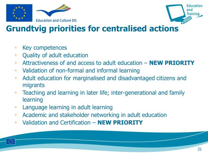 Grundtvig priorities for centralised actions