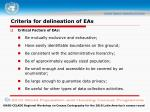 criteria for delineation of eas