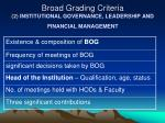 broad grading criteria 2 institutional governance leadership and financial management