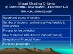 broad grading criteria 2 institutional governance leadership and financial management1