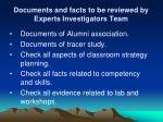 documents and facts to be reviewed by experts investigators team4