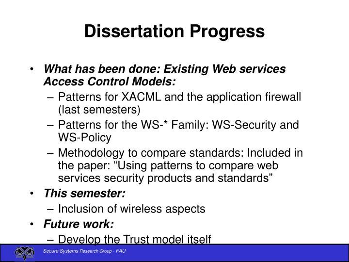 Dissertation progress