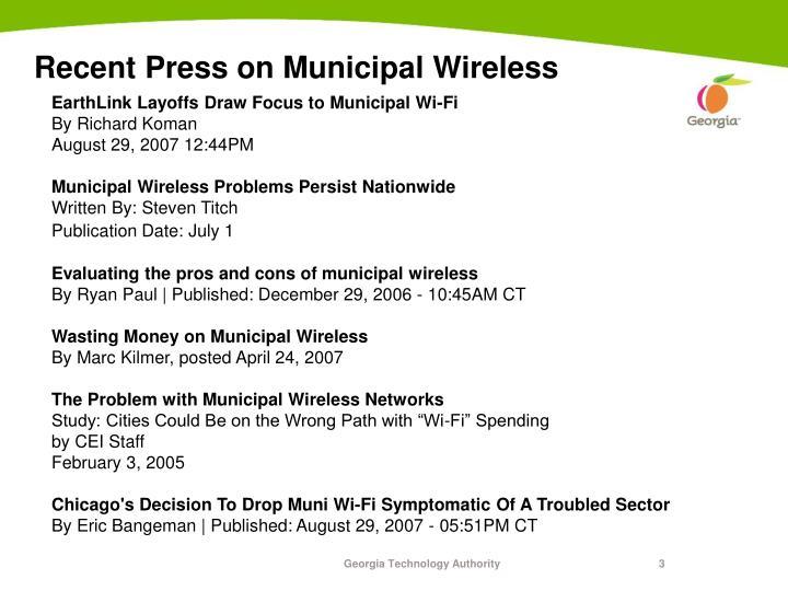 Recent press on municipal wireless