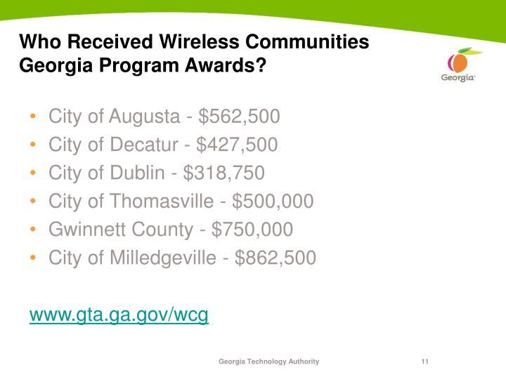 Who Received Wireless Communities Georgia Program Awards?