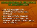 conclusiveness of certificate of incorporation