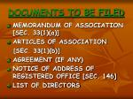 documents to be filed