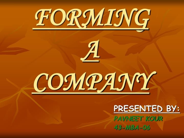 forming a company n.