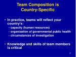 team composition is country specific