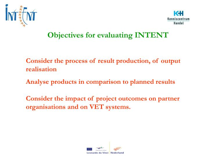 Objectives for evaluating INTENT