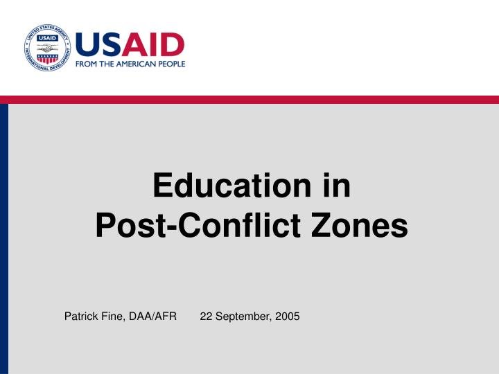education in post conflict zones n.
