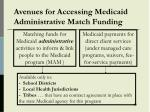 avenues for accessing medicaid administrative match funding