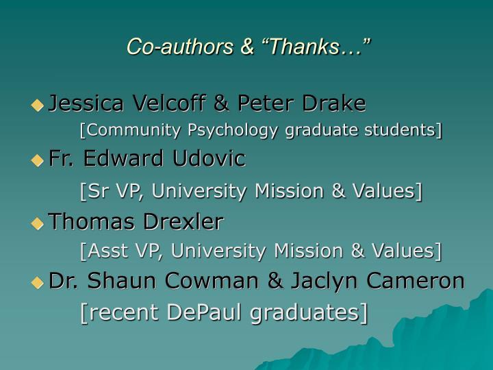 Co authors thanks