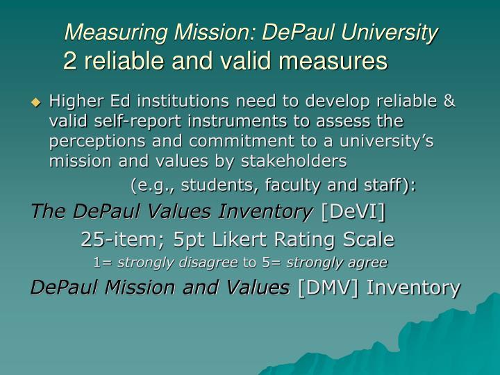 Measuring Mission: DePaul University