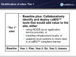 stratification of sites tier 1