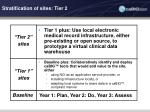 stratification of sites tier 2