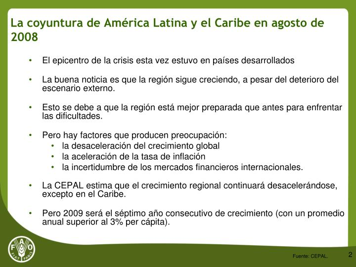 La coyuntura de am rica latina y el caribe en agosto de 2008