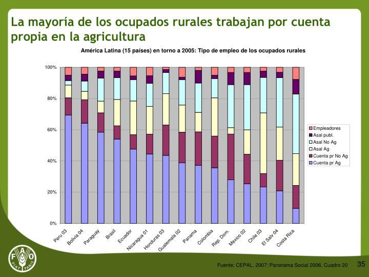 La mayoría de los ocupados rurales trabajan por cuenta propia en la agricultura