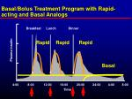 basal bolus treatment program with rapid acting and basal analogs