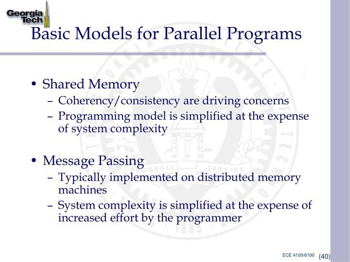 Basic Models for Parallel Programs