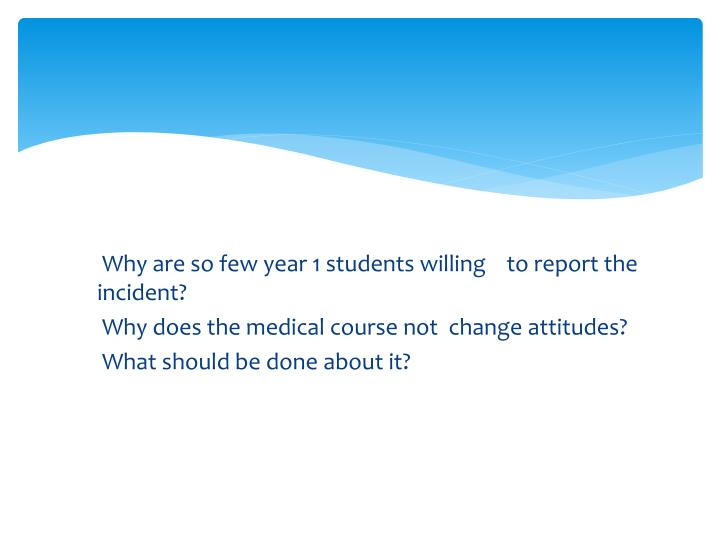 Why are so few year 1 students willing    to report the incident?