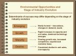 environmental opportunities and stage of industry evolution