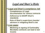 legal and shari a risks