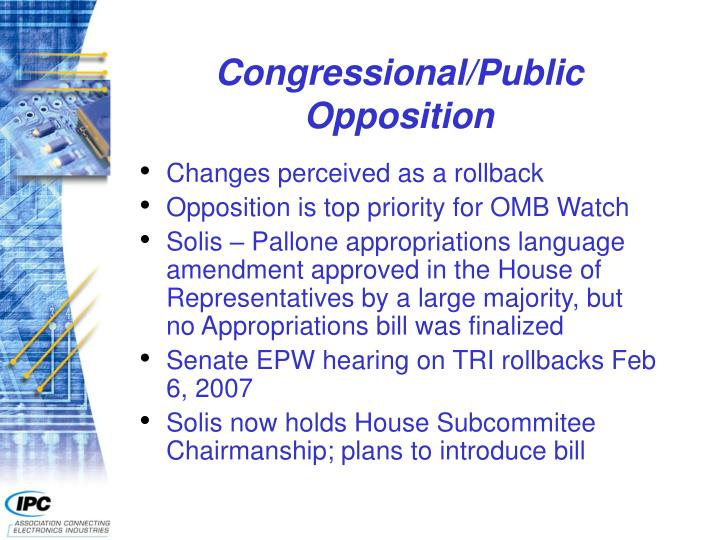 Congressional/Public Opposition