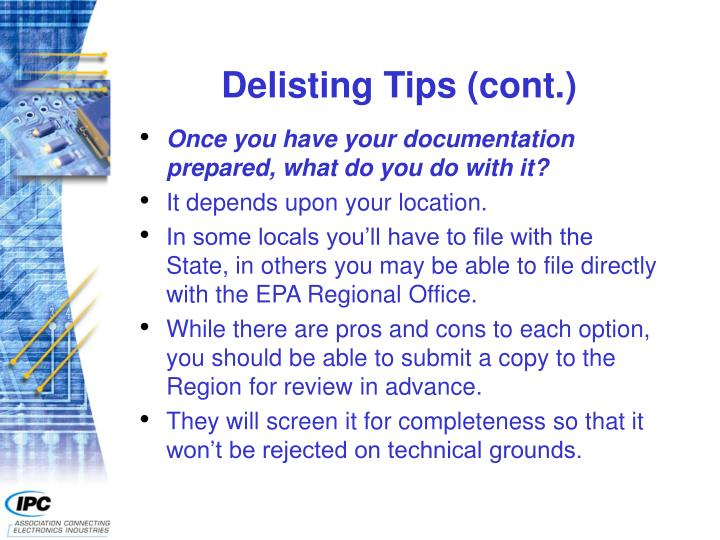 Delisting Tips (cont.)