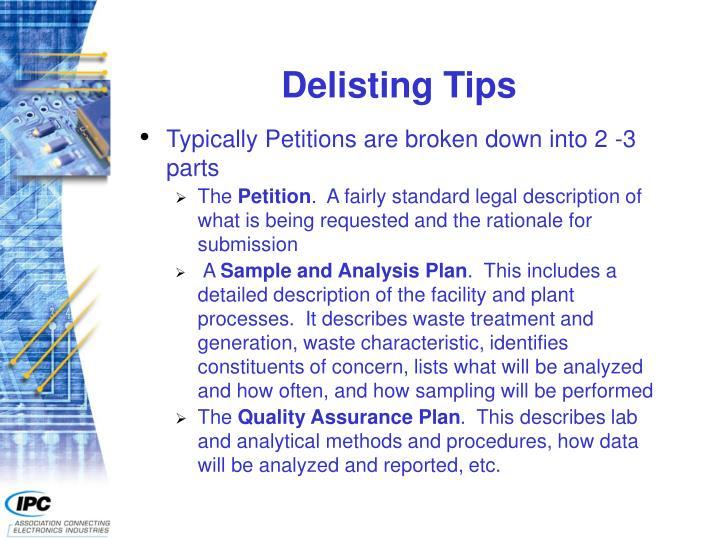 Delisting Tips