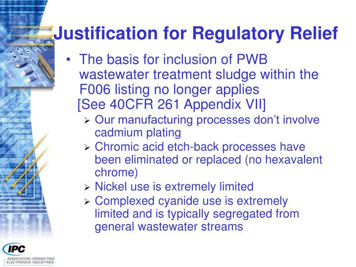 Justification for Regulatory Relief