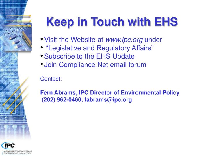 Keep in Touch with EHS