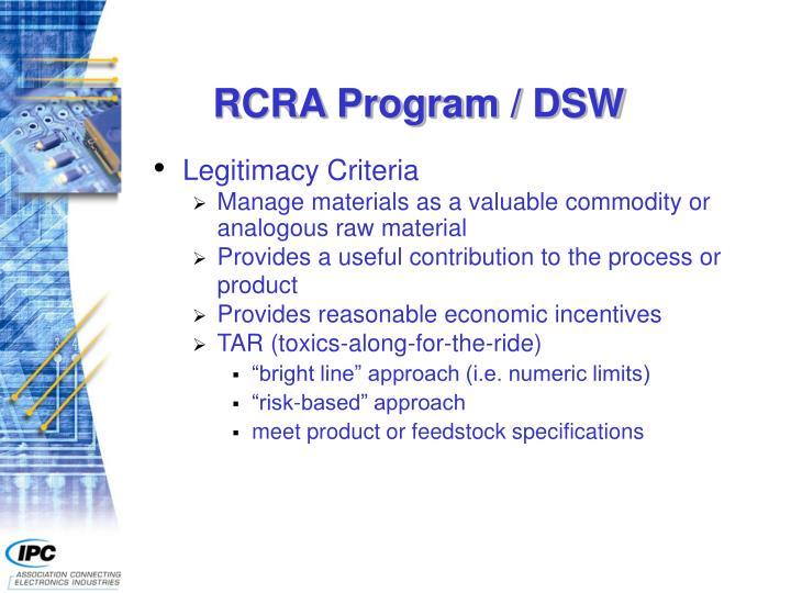 RCRA Program / DSW