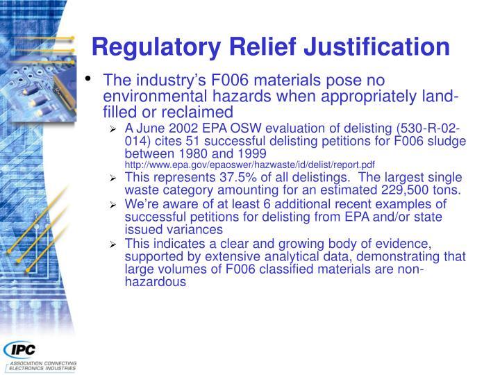 Regulatory Relief Justification