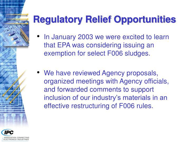 Regulatory Relief Opportunities