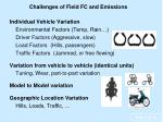 challenges of field fc and emissions
