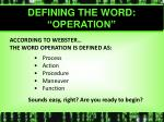 defining the word operation