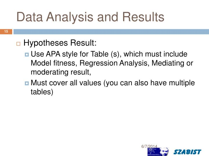 Data Analysis and Results