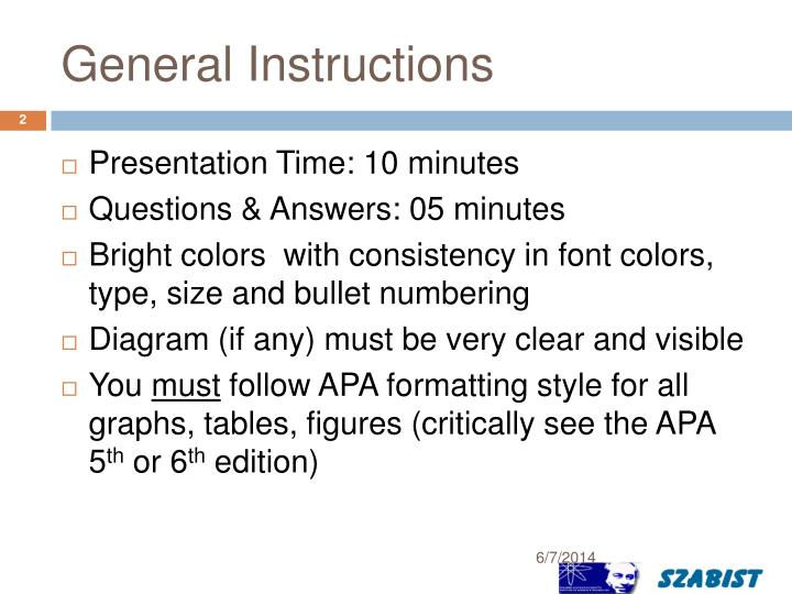 General instructions