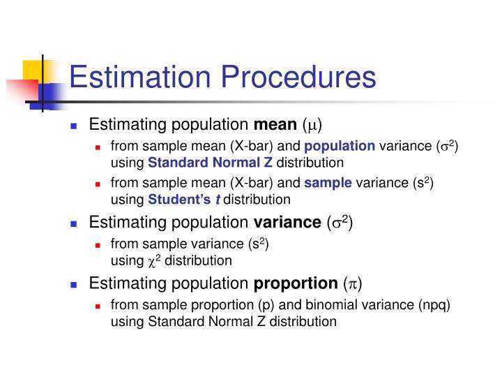 Estimation Procedures