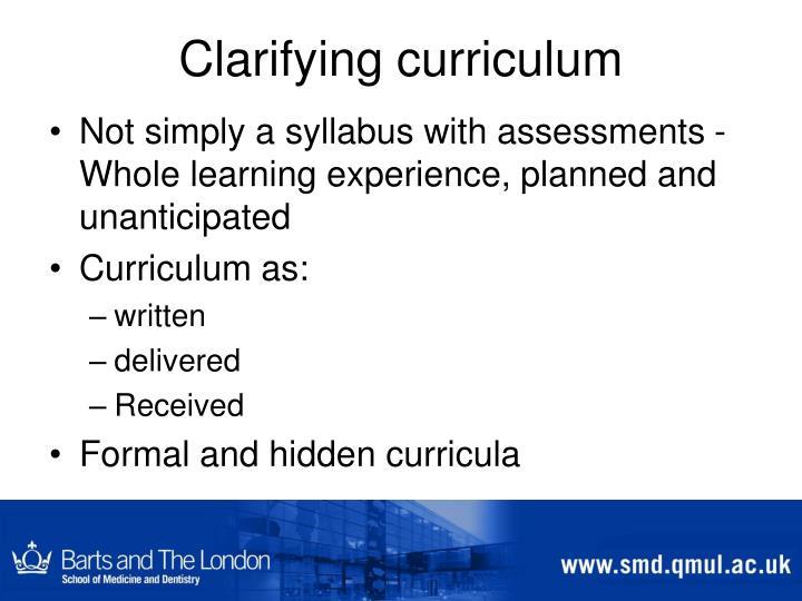 Clarifying curriculum