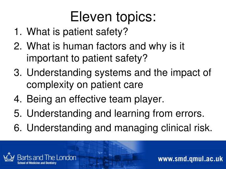 Eleven topics: