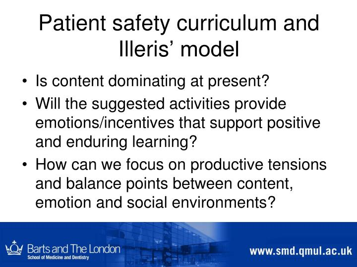 Patient safety curriculum and