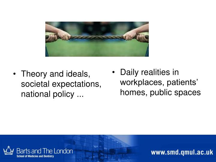 Theory and ideals, societal expectations, national policy ...