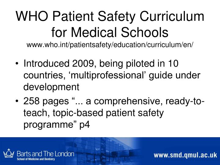 WHO Patient Safety Curriculum for Medical Schools