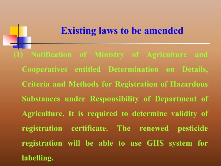 Existing laws to be amended