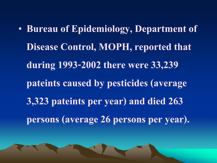 Bureau of Epidemiology, Department of Disease Control, MOPH, reported that during 1993-2002 there were 33,239 pateints caused by pesticides (average 3,323 pateints per year) and died 263 persons (average 26 persons per year).